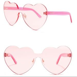 DIFF Rio 64 MM pink Heart shaped sunglasses
